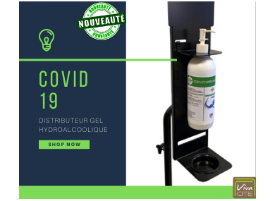 COVID 19 : Distributeur gel hydroalcoolique avec gel
